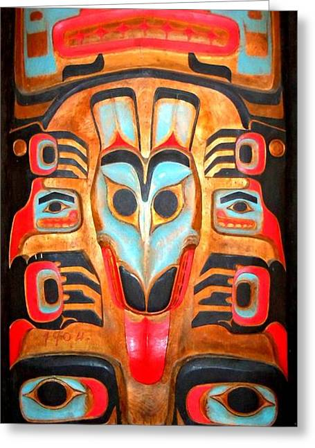 Wood Carving Greeting Cards - Totem 2 Greeting Card by Randall Weidner