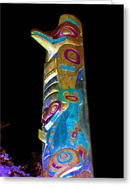 Wood Carving Digital Art Greeting Cards - Totem 21 Greeting Card by Randall Weidner