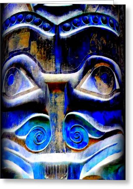Wood Carving Digital Art Greeting Cards - Totem 22 Greeting Card by Randall Weidner