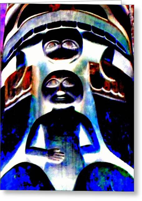 Wood Carving Digital Art Greeting Cards - Totem 23 Greeting Card by Randall Weidner