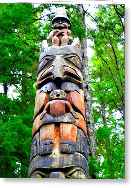 Wood Carving Greeting Cards - Totem 26 Greeting Card by Randall Weidner