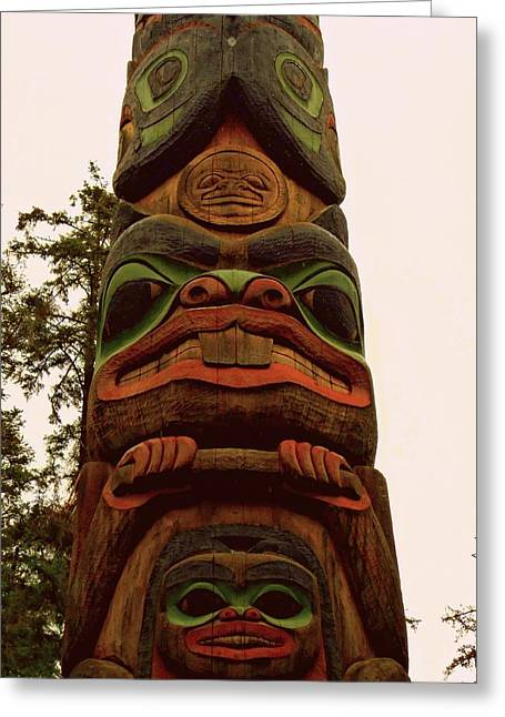 Wood Carving Greeting Cards - Totem 27 Greeting Card by Randall Weidner