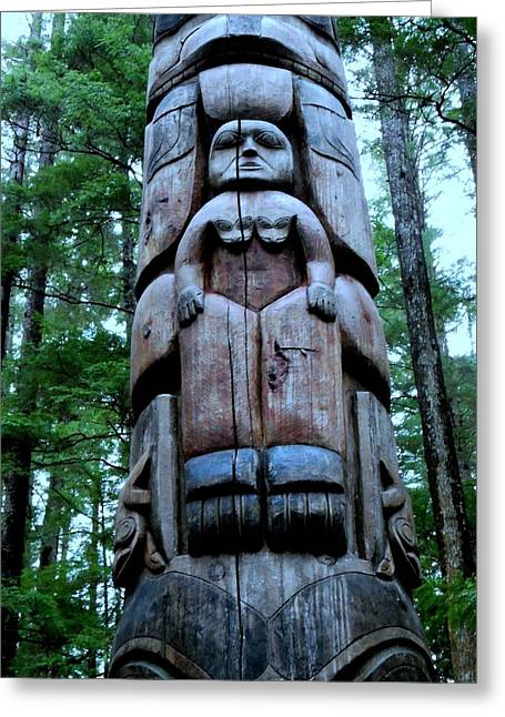 Wood Carving Greeting Cards - Totem 29 Greeting Card by Randall Weidner