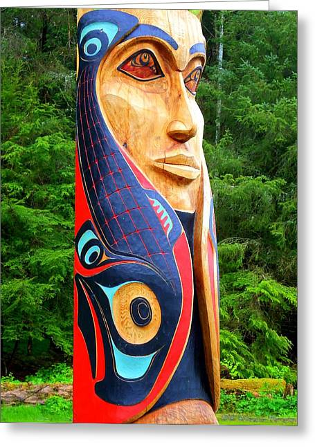Wood Carving Greeting Cards - Totem 30 Greeting Card by Randall Weidner