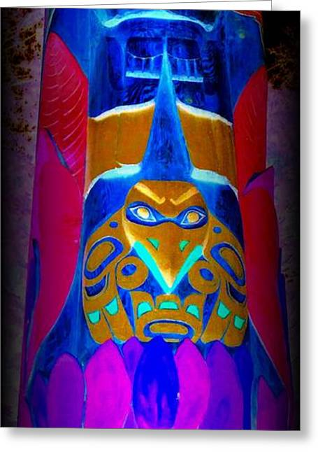Wood Carving Greeting Cards - Totem 31 Greeting Card by Randall Weidner