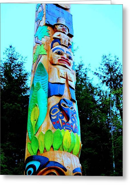 Wood Carving Greeting Cards - Totem 32 Greeting Card by Randall Weidner