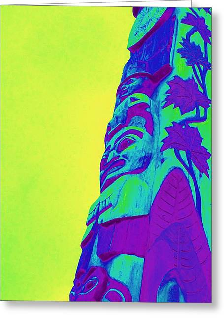Wood Carving Digital Art Greeting Cards - Totem 33 Greeting Card by Randall Weidner