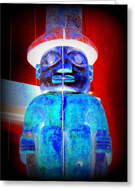 Wood Carving Digital Art Greeting Cards - Totem 34 Greeting Card by Randall Weidner