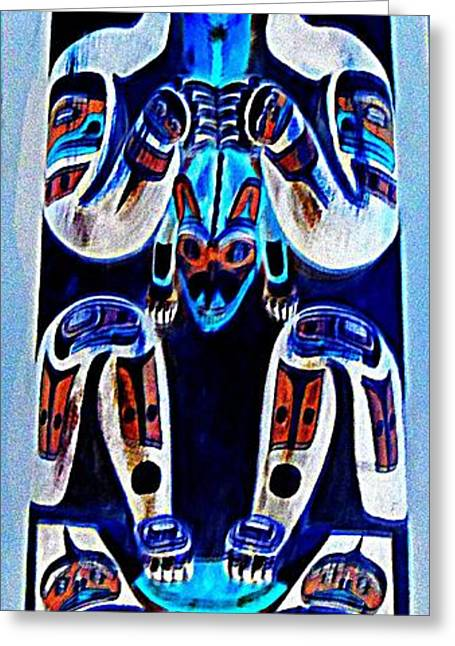 Wood Carving Digital Art Greeting Cards - Totem 36 Greeting Card by Randall Weidner