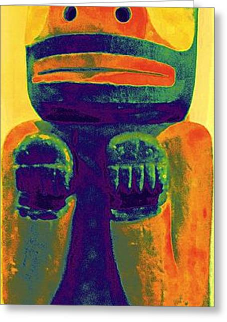 Wood Carving Digital Art Greeting Cards - Totem 37 Greeting Card by Randall Weidner