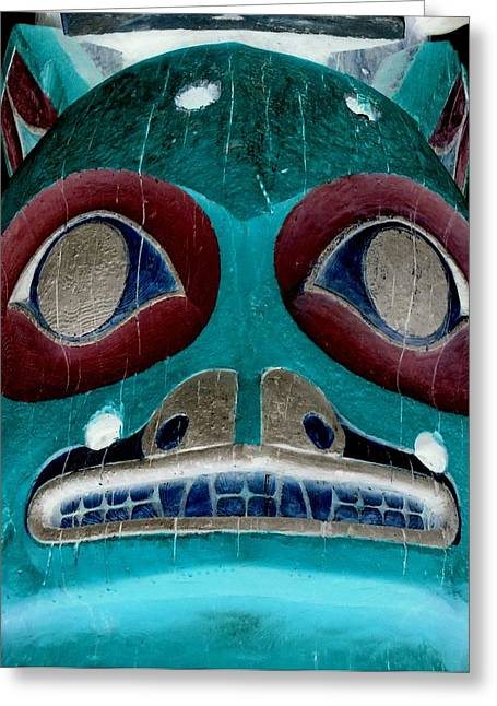 Wood Carving Greeting Cards - Totem 39 Greeting Card by Randall Weidner