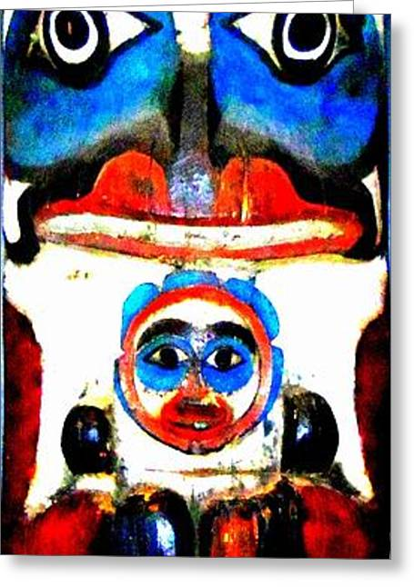 Wood Carving Photographs Greeting Cards - Totem 4 Greeting Card by Randall Weidner
