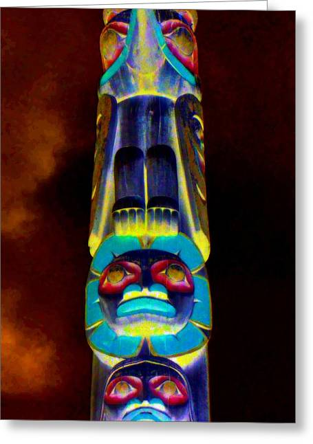 Wood Carving Greeting Cards - Totem 43 Greeting Card by Randall Weidner