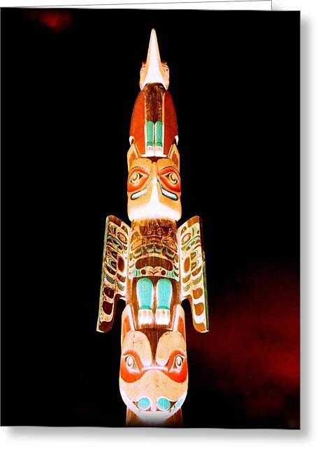 Wood Carving Greeting Cards - Totem 46 Greeting Card by Randall Weidner