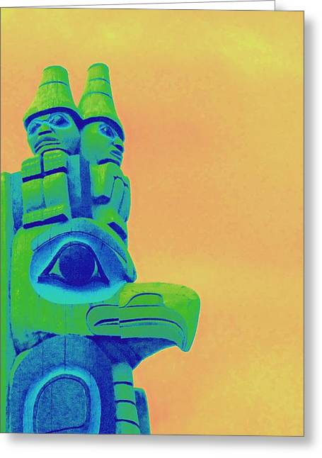 Wood Carving Greeting Cards - Totem 50 Greeting Card by Randall Weidner