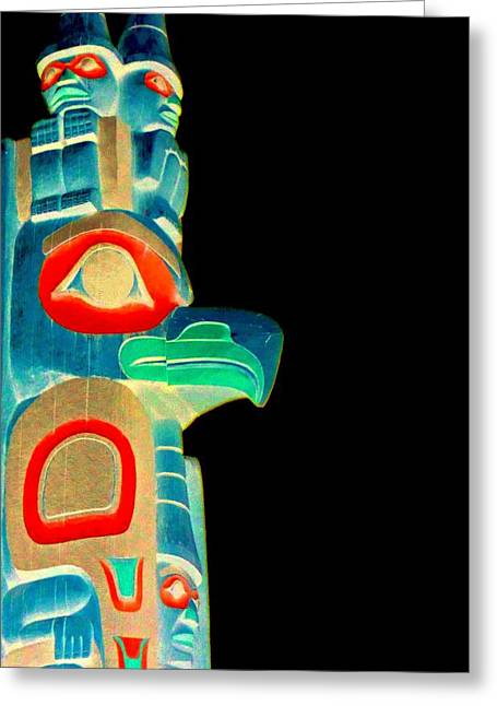 Wood Carving Greeting Cards - Totem 51 Greeting Card by Randall Weidner