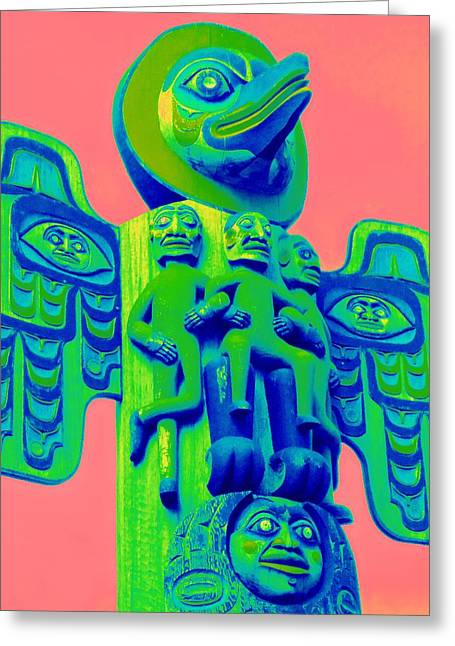Wood Carving Greeting Cards - Totem 55 Greeting Card by Randall Weidner