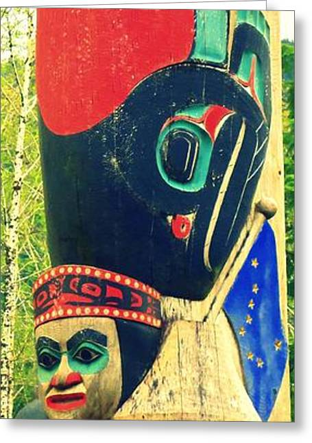 Wood Carving Greeting Cards - Totem 57 Greeting Card by Randall Weidner
