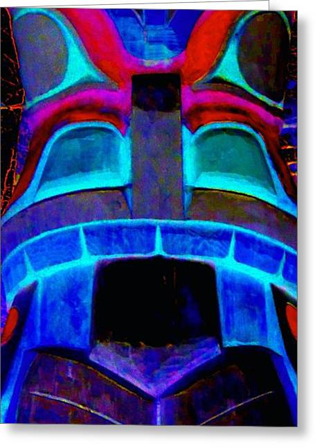 Wood Carving Digital Art Greeting Cards - Totem 8 Greeting Card by Randall Weidner