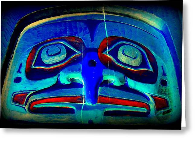 Wood Carving Digital Art Greeting Cards - Totem Face 1 Greeting Card by Randall Weidner