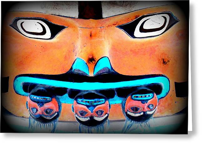 Wood Carving Digital Art Greeting Cards - Totem Face 2 Greeting Card by Randall Weidner