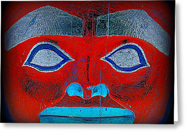Wood Carving Greeting Cards - Totem Face 3 Greeting Card by Randall Weidner