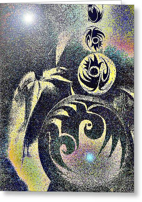 Visionary Artist Greeting Cards - Totem in Space Greeting Card by George  Page