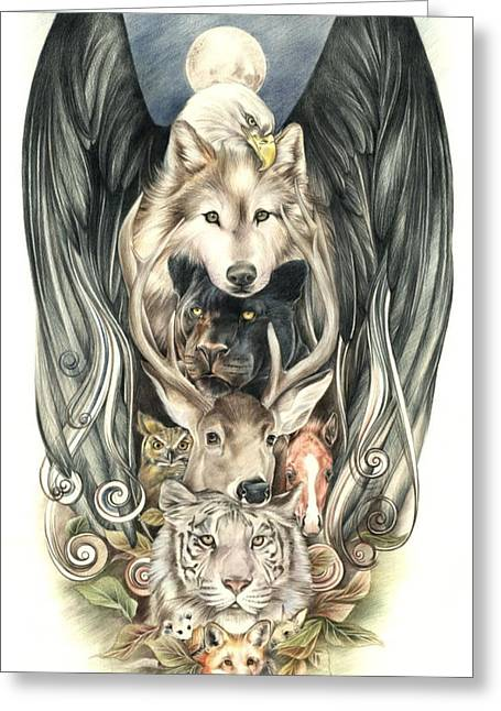 Coloured Pencil Greeting Cards - Totem Greeting Card by Johanna Pieterman
