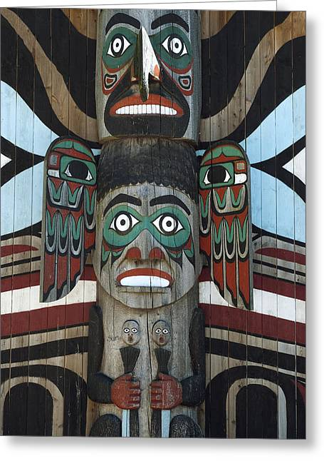 Wooden Sculpture Greeting Cards - Totem Pole Greeting Card by Design Windmill