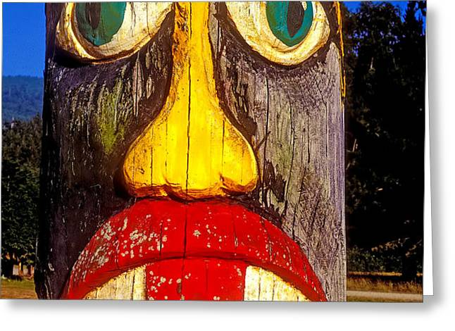 Totem pole with tongue sticking out Greeting Card by Garry Gay
