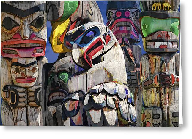 Wall Art Sculptures Greeting Cards - Totem Poles in the Pacific Northwest Greeting Card by Randall Nyhof
