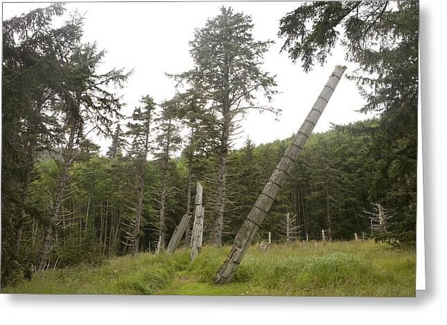 Charlotte Greeting Cards - Totem Poles Stand In A Deserted Village Greeting Card by Taylor S. Kennedy
