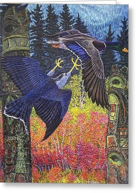 British Columbia Drawings Greeting Cards - Totem Spirits-Northern Goshawk and Mallard Drake Greeting Card by Tim McCarthy