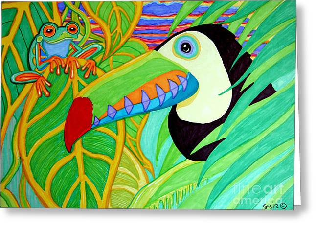 Amphibians Drawings Greeting Cards - Toucan and Red Eyed Tree Frog Greeting Card by Nick Gustafson