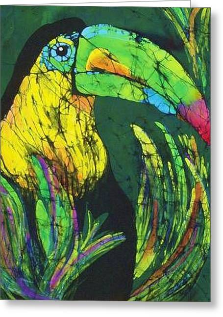 Fine Art Tapestries - Textiles Greeting Cards - Toucan Fine Art Batik Greeting Card by Kay Shaffer
