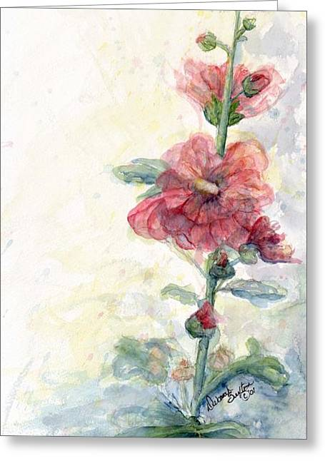 Fushia Greeting Cards - Touch of Summer Hollyhocks Greeting Card by CheyAnne Sexton