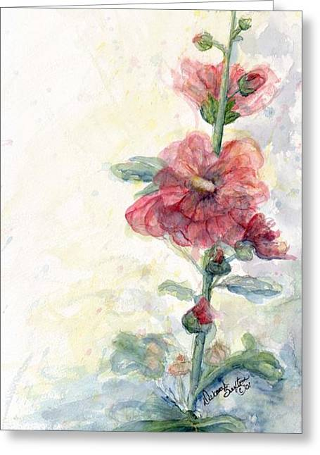 Fushia Greeting Cards - Touch of Summer Hollyhocks watercolor Greeting Card by CheyAnne Sexton
