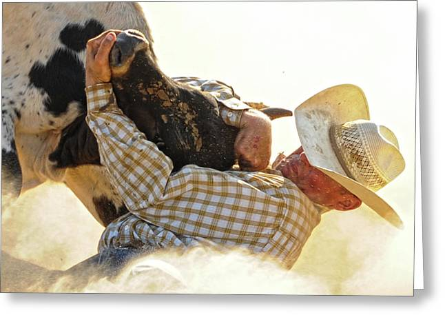 Steer Greeting Cards - Tough Enough Greeting Card by Ron  McGinnis
