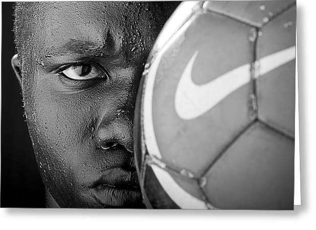 Sweat Greeting Cards - Tough Like a Nike Ball Greeting Card by Val Black Russian Tourchin