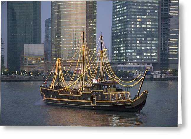 Bund Shanghai Greeting Cards - Tour Boat On The Huangpu River Greeting Card by Scott S. Warren
