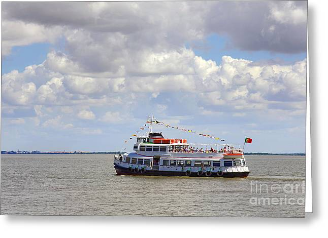 Touring Boat Greeting Card by Carlos Caetano