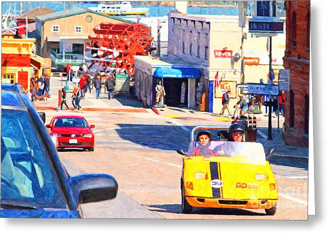 Beach Street Greeting Cards - Touring San Fracisco Fishermans Wharf In An Electric Gocar . 7D14100 Greeting Card by Wingsdomain Art and Photography
