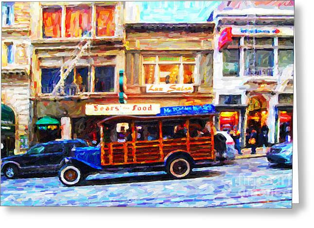 Stockton Street Greeting Cards - Touring The Streets of San Francisco . Photo Artwork Greeting Card by Wingsdomain Art and Photography