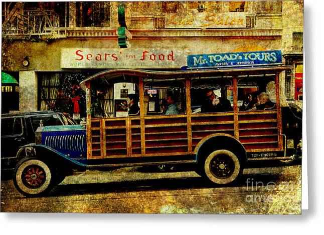 San Francisco Bus Tours Greeting Cards - Touring The Streets of San Francisco . texture Greeting Card by Wingsdomain Art and Photography