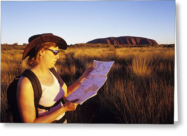 Ayers Rock Greeting Cards - Tourist At Uluru Greeting Card by Carlos Dominguez