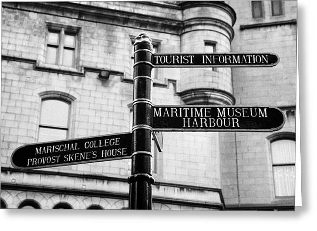 tourist information signs directions street aberdeen scotland uk Greeting Card by Joe Fox