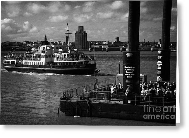 Cross River Greeting Cards - Tourists And Commuters Queue Up At The Pier Head Floating Ferry Terminal For The Mersey Ferry Greeting Card by Joe Fox