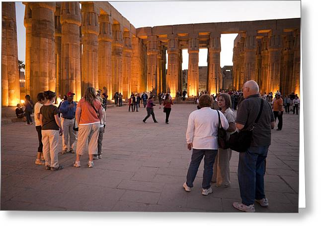Pharaoh Greeting Cards - Tourists Congregate In The Center Greeting Card by Taylor S. Kennedy