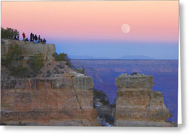 Yaki Greeting Cards - Tourists Enjoying Sunset And Rising Greeting Card by Tim Fitzharris