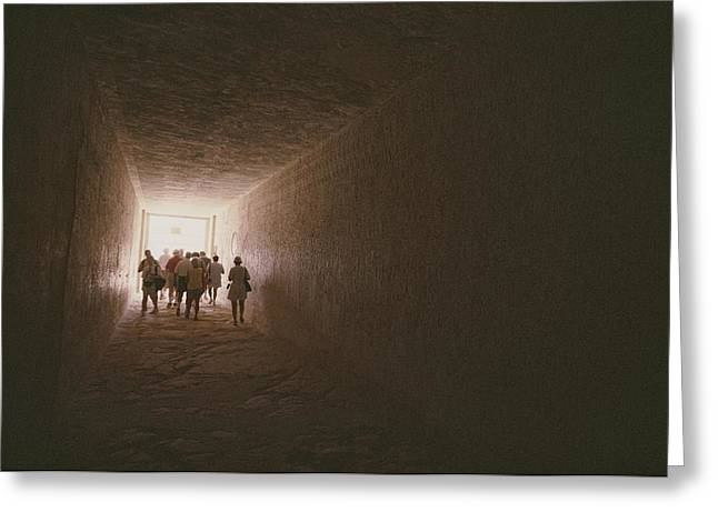 Tourists And Tourism Greeting Cards - Tourists Inside The Egyptian Tomb Greeting Card by Kenneth Garrett